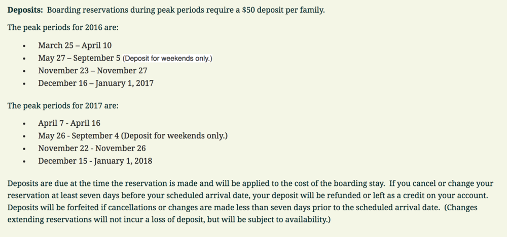 Post all your peak holiday periods and deposit requirements on your website. Ensure these rates and policies are also stated on your online customer portal so they see them when they are making reservation requests.