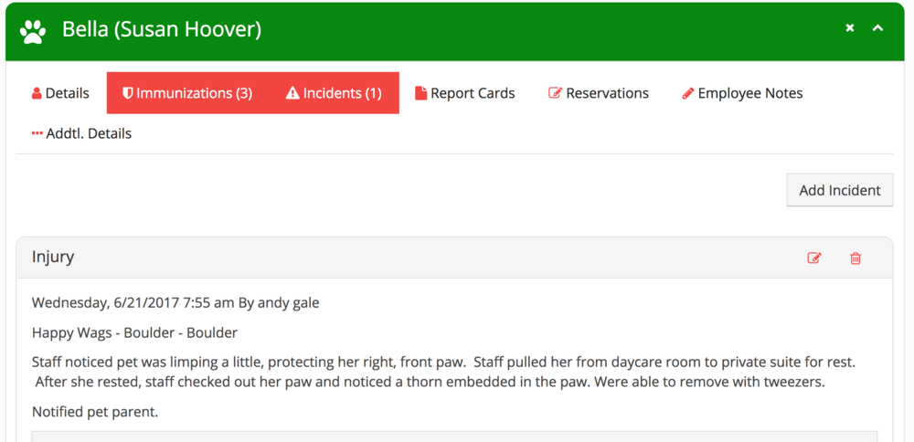 An incident report recorded for Bella's injury.