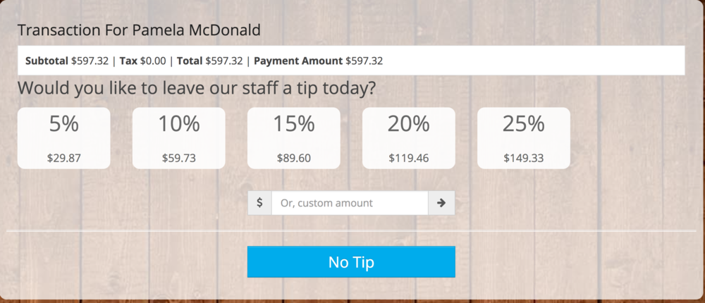 This optional-setting in Gingr prompts the customer to leave a tip for your staff.  The customer views this option on a tablet when they are preparing to sign for their credit card payment.