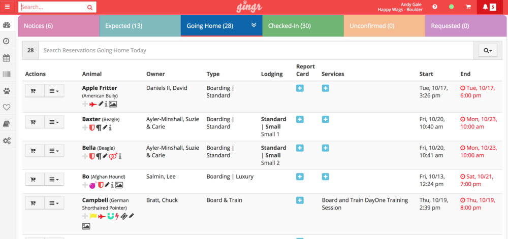Gingr's user-friendly dashboard gives you quick access to information about pet's in your facility.