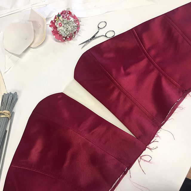 Custom cocktail dress in the making. Matte Satin in wine with a deep V plunge 🍷#sewing #dressmaking #custom