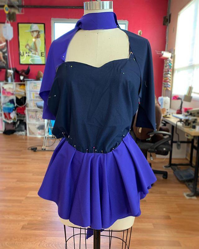 Progress photos of Irene's Chiyuki figure skating cosplay. ✂️⛸ #sewing #cosplay #custom #chiyuki #deathparade