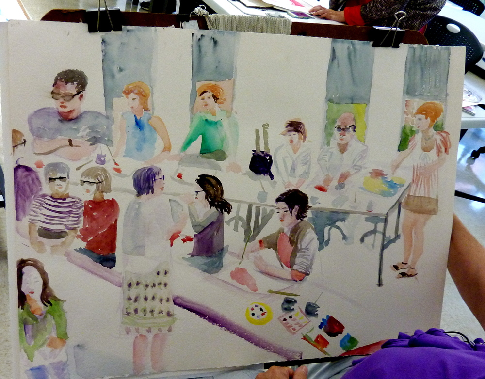 A painting of the class in action done by student, Susan Klare.