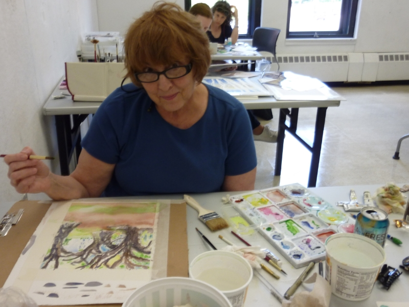 Nancy is a retired Providence teacher who focused on unifying her landscape painting.