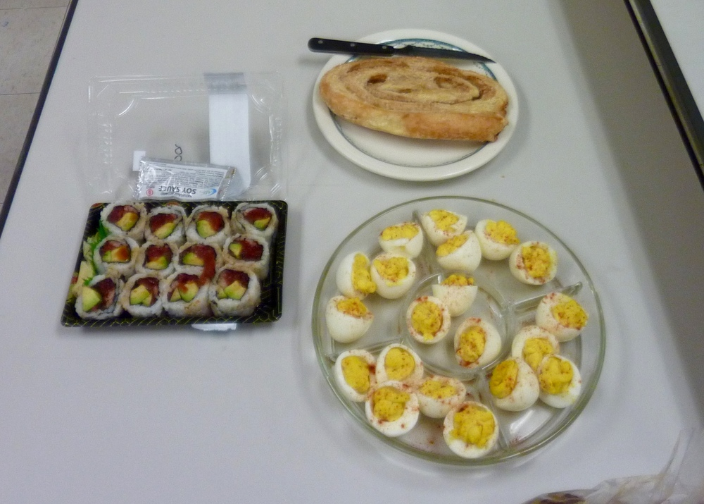 Bob's snacks related to his story... tuna sushi, deviled eggs, and elephant's ear pastry!