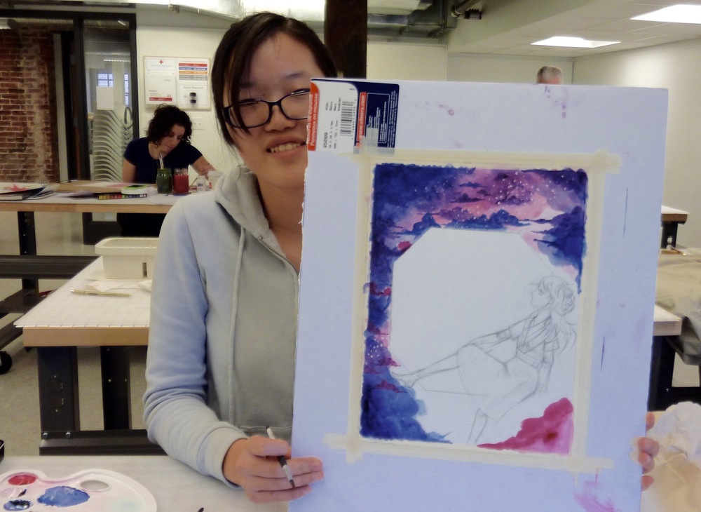 Yanlin layered many washes for an impressive skyscape. A wooden window with a landscape and revisions on the drawing of the girl to come.