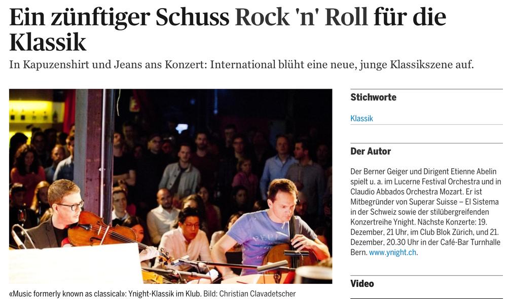 """""""Ein zünftiger Schuss Rock'n'Roll für die Klassik"""", Etienne Abelin,  Tagesanzeiger Zürich, 4. Januar 2014"""