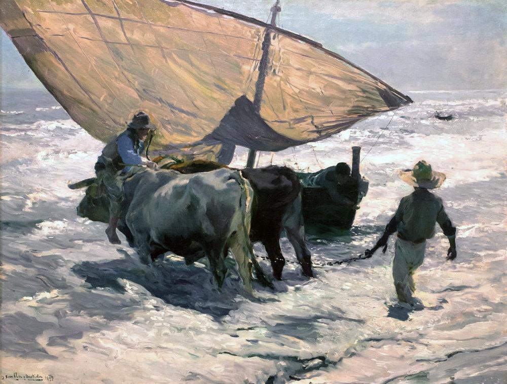 Enganchando la barca, por Joaquín Sorolla (Valencia, 1899)