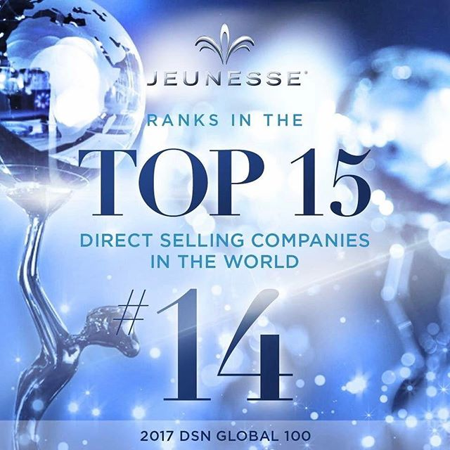 #Jeunesse is now ranked among the Top 15 companies in the industry on the DSN 2017 Global 100 List! 🔝💯 Congrats to the Distributors worldwide who have accomplished this prestigious recognition together! 💙 We can do great things when we believe in each other! #1T1F1J #GenerationYoung #DSNG100