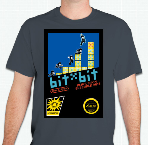 8-bit video game themed image designed for 6-layer screenprinting