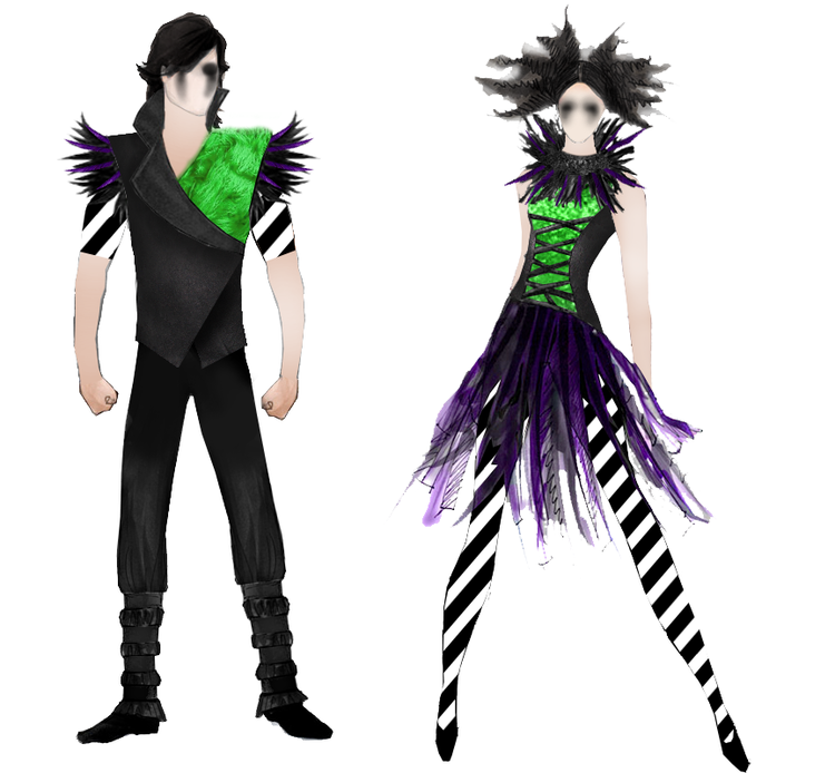 The original mock-up based on costume illustrations by Creative Costuming & Designs