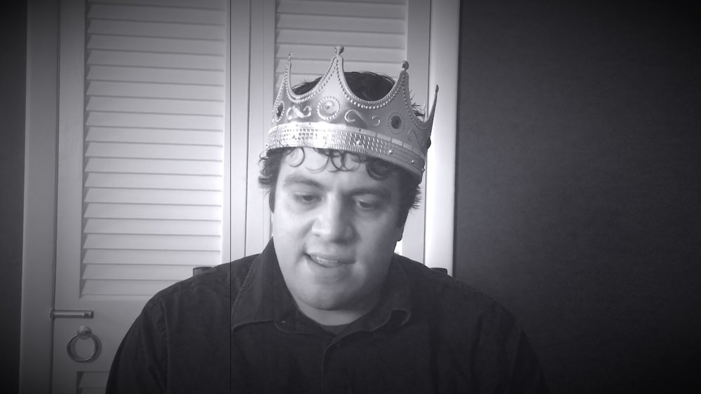 Jack Burgos, the hero of the piece, during a contemplative take. The crown and shirt are mine.