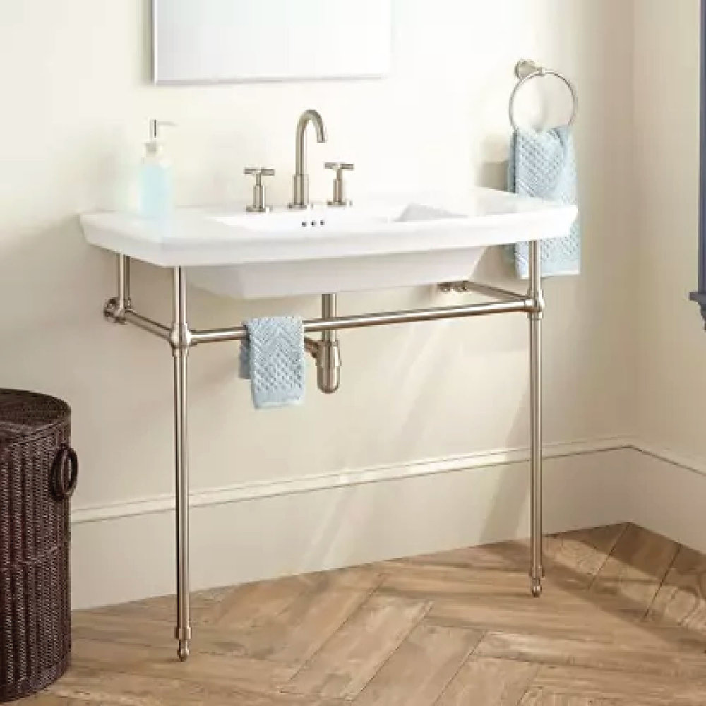 SIGNATURE HARDWARE OLNEY PORCELAIN CONSOLE SINK WITH BRASS STAND