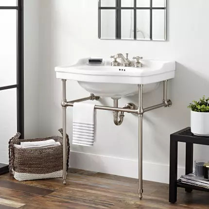 SIGNATURE HARDWARE CIERRA CONSOLE SINK WITH BRASS STAND
