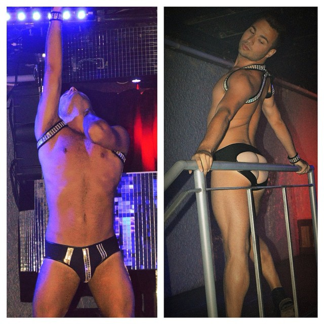 #ohwhatanight @brettbretters rocking my newest #neoprene #design. #gold #sequin #harness & matching #jock. Thanks to @famenightclub for another spectacular event, this one featuring @killianadam
