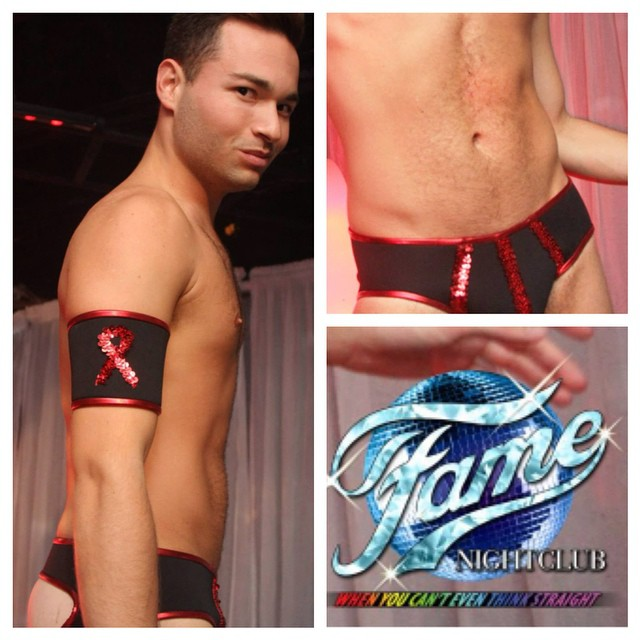 Lookin Sharp @brettbretters, entertaining the crowd in a custom #neoprene #jock trimmed in #Rouge, the theme of @famenightclub 4th annual #AIDS fundraiser.