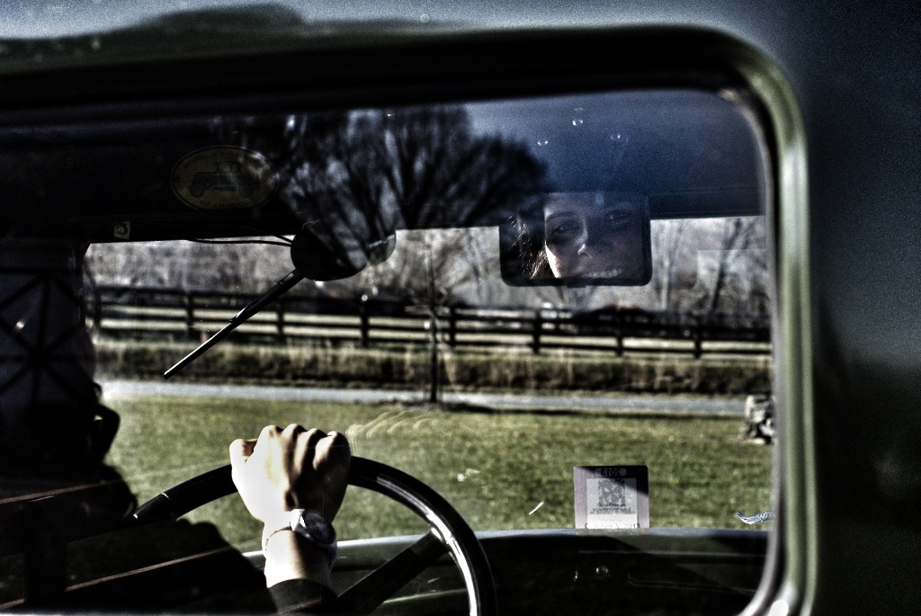 In the Review mirror of a Model A