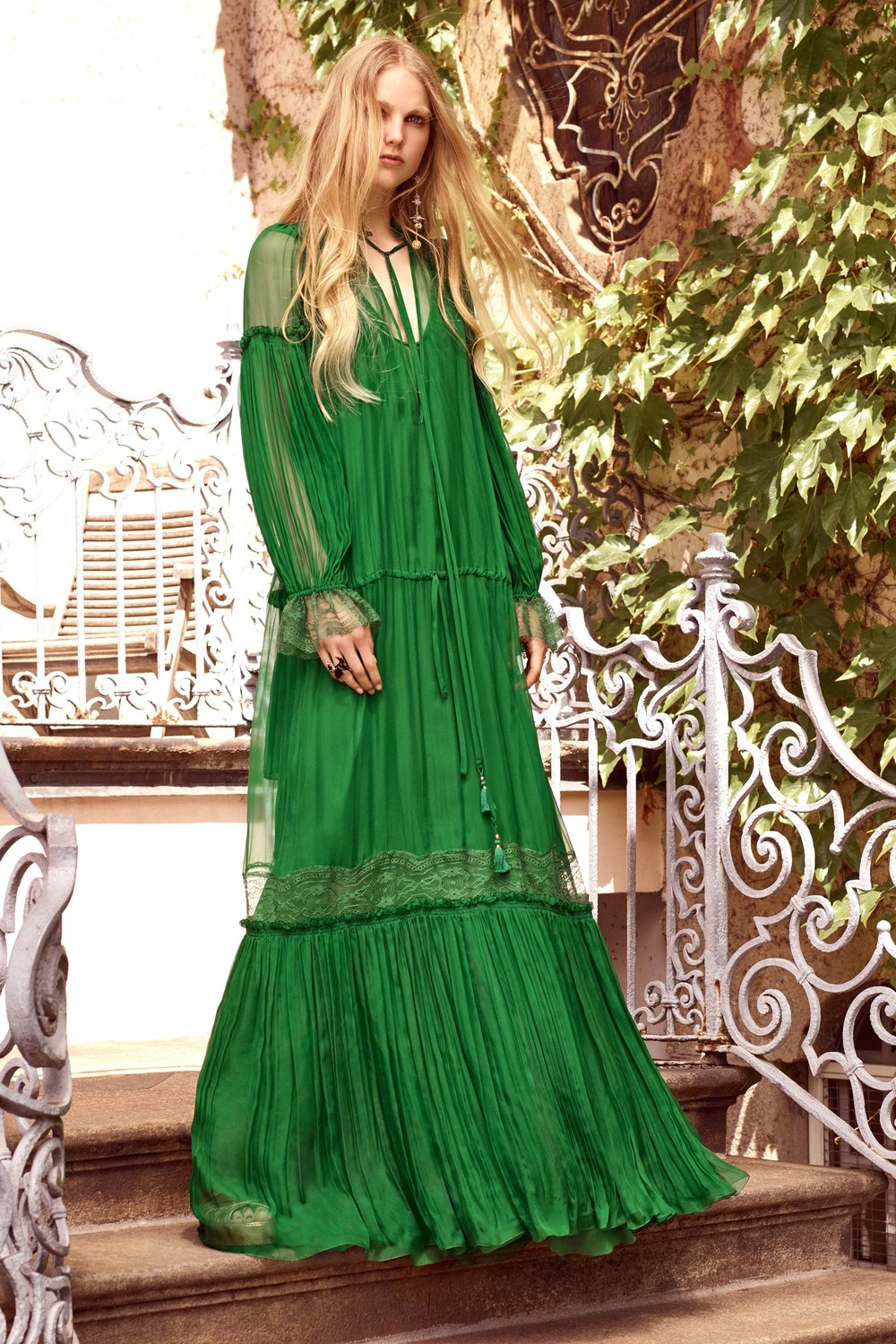 tiered maxi, pleats mixed with lace and all in a beautiful and bold green