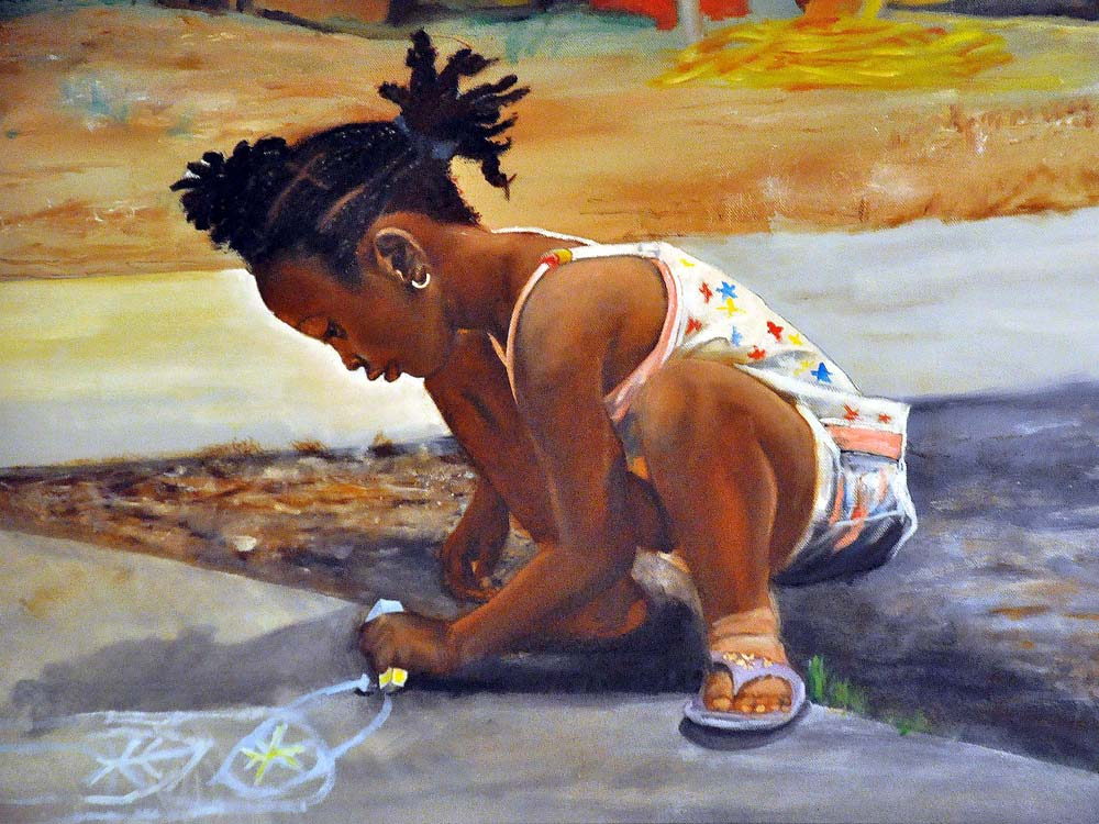 """Little Sidewalk Artist"" by Rudy Martin"