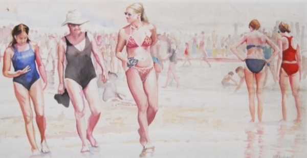 19519223-Kaufman,Beach Stroll, watercolor, 1999, $350.jpg