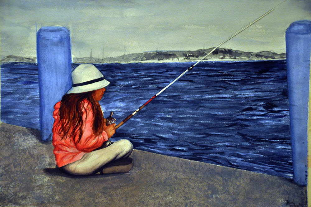 """Little Girl Fishing on the Bay"" by Rudy Martin"