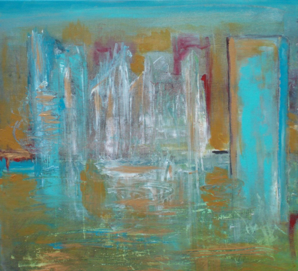 "Golden City - Floating   16"" x 16"" - acrylic on canvas"