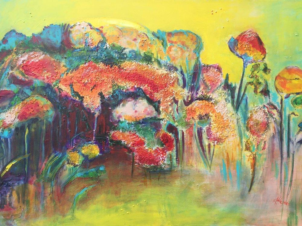 "SOLD - Moon Garden   24"" x 36"" - acrylic on canvas"