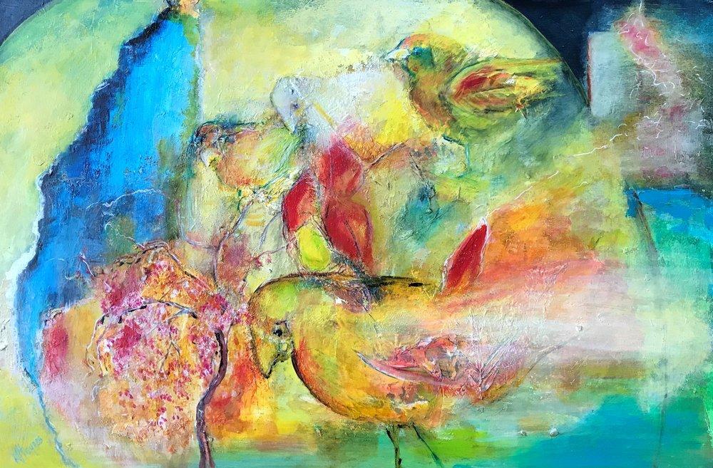"""Avian Land   24"""" x 36"""" - mixed media on canvas"""