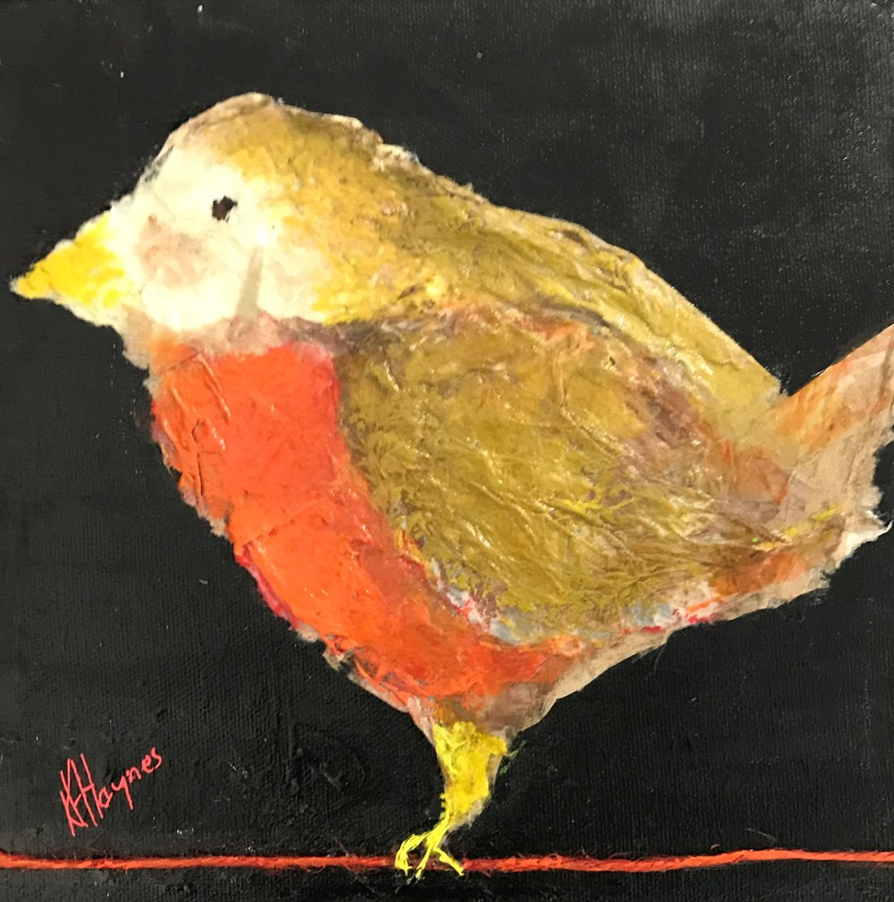 """Feathered Friend #5   8"""" x 8"""" - mixed media on canvas"""