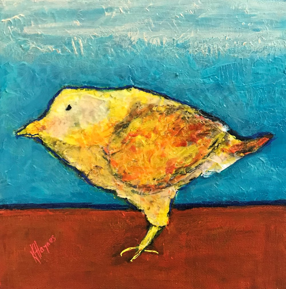 """Feathered Friend #6   8"""" x 8"""" - mixed media on canvas"""