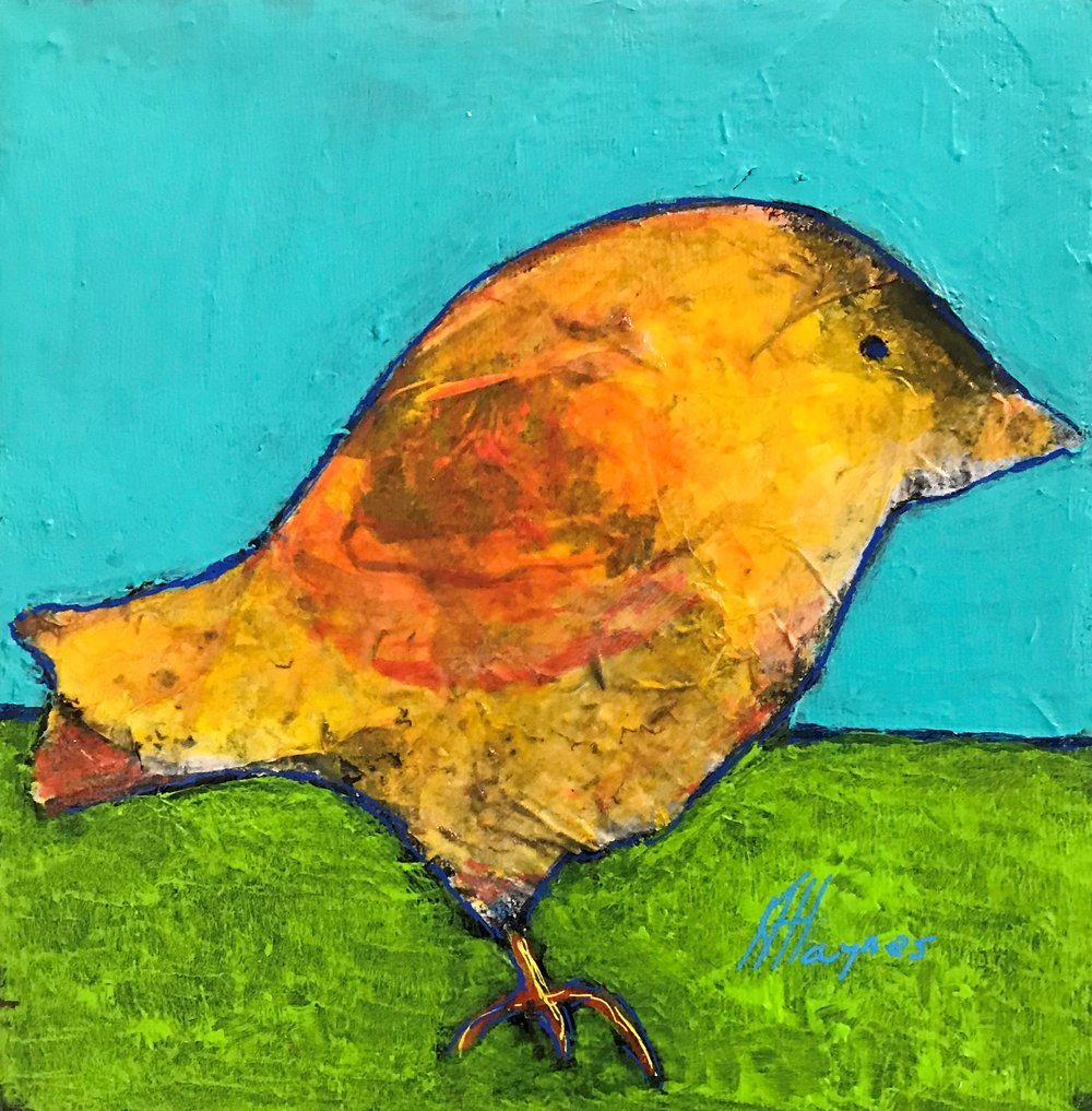 """SOLD - Feathered Friend #7   8"""" x 8"""" - mixed media on canvas"""