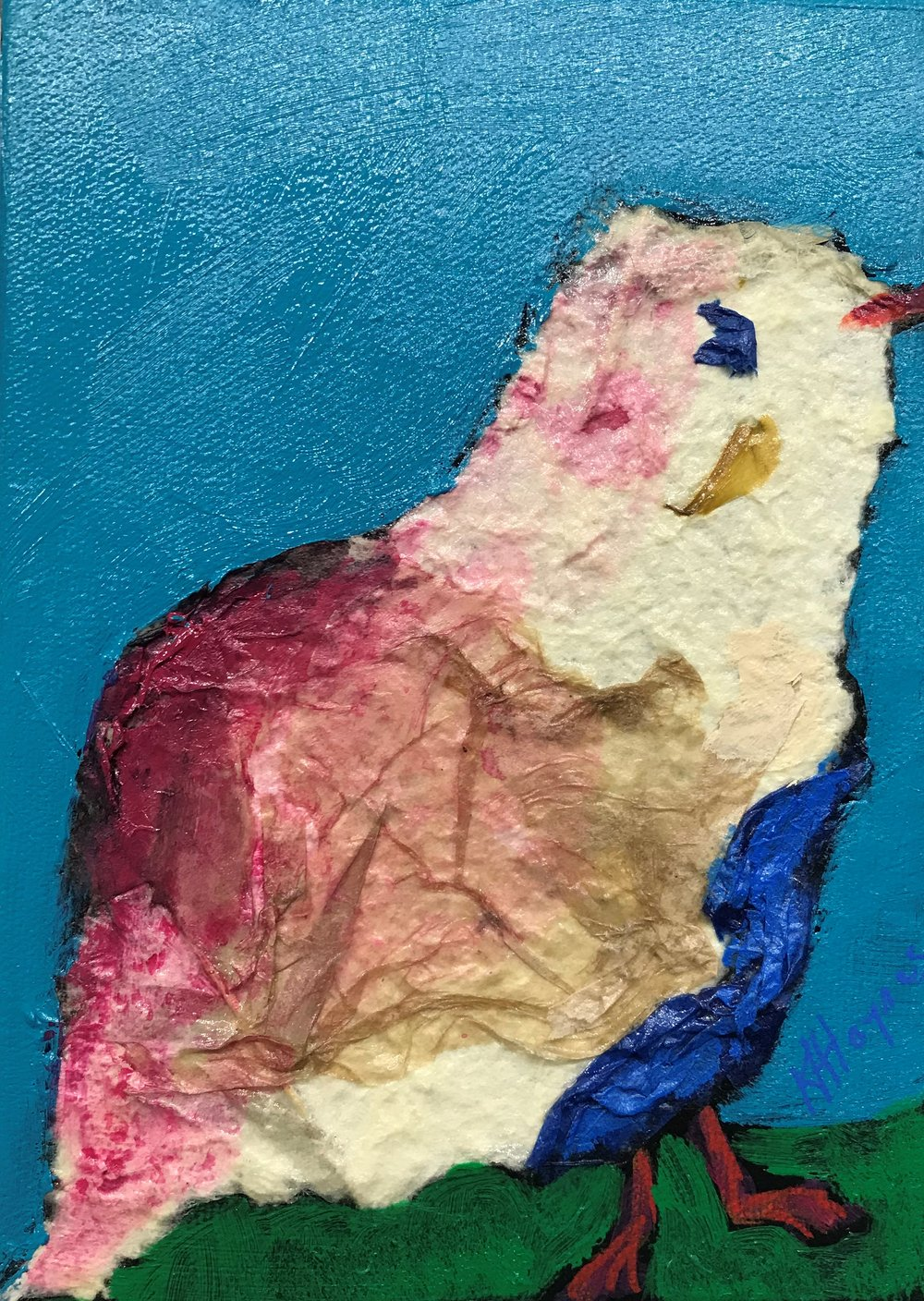 "SOLD - Feathered Friend #1   7"" x 5"" - mixed media on canvas"