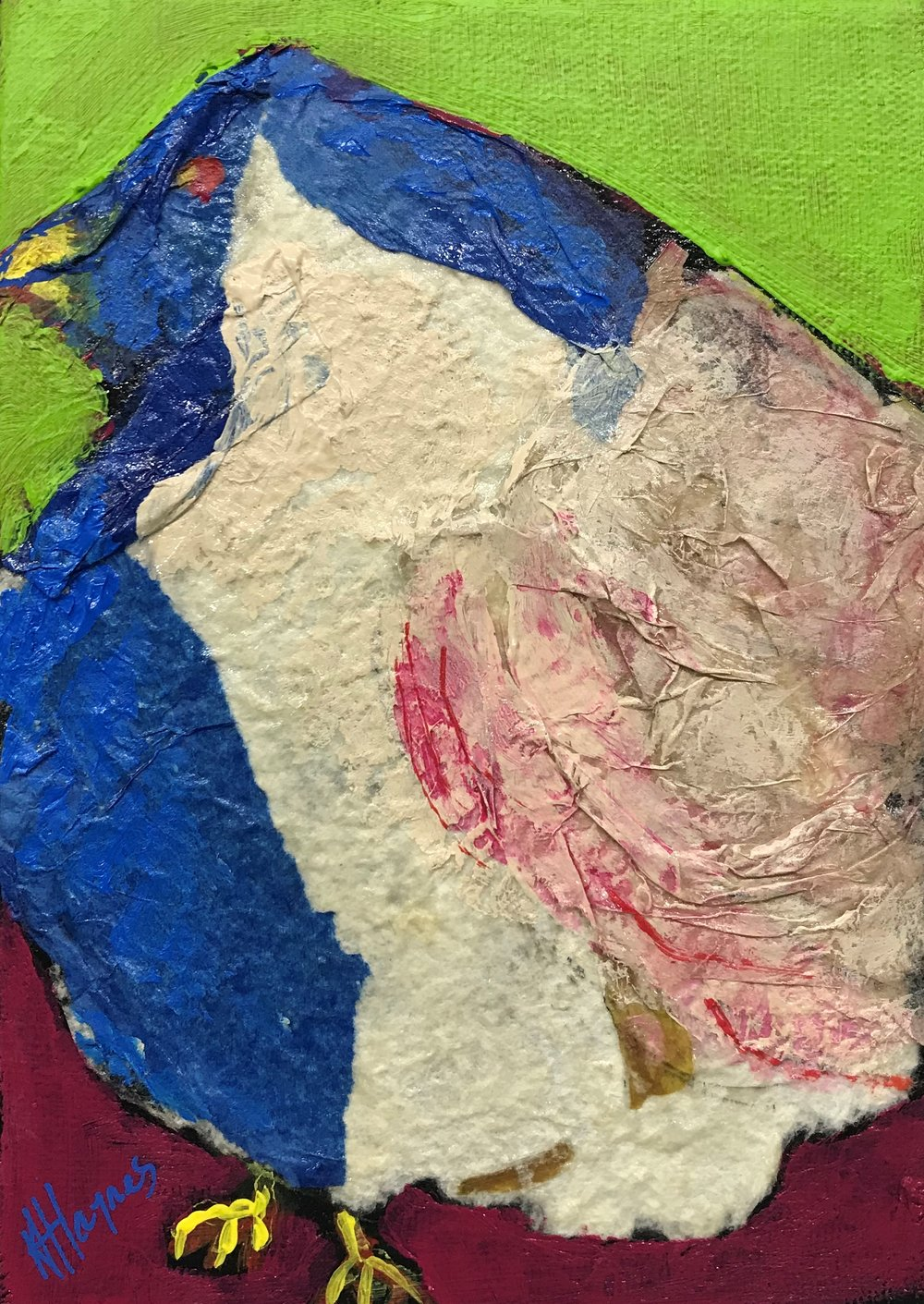 "SOLD - Feathered Friend #2   7"" x 5"" - mixed media on canvas"