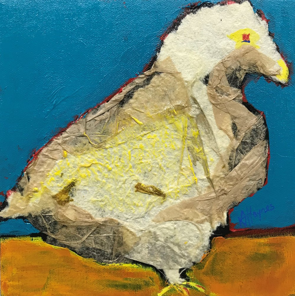 """SOLD - Feathered Friend #3   8"""" x 8"""""""" - mixed media on canvas"""