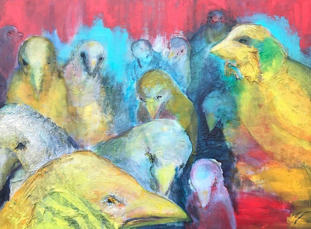 """Avian Assembly   30"""" x 40"""" - mixed media on canvas"""