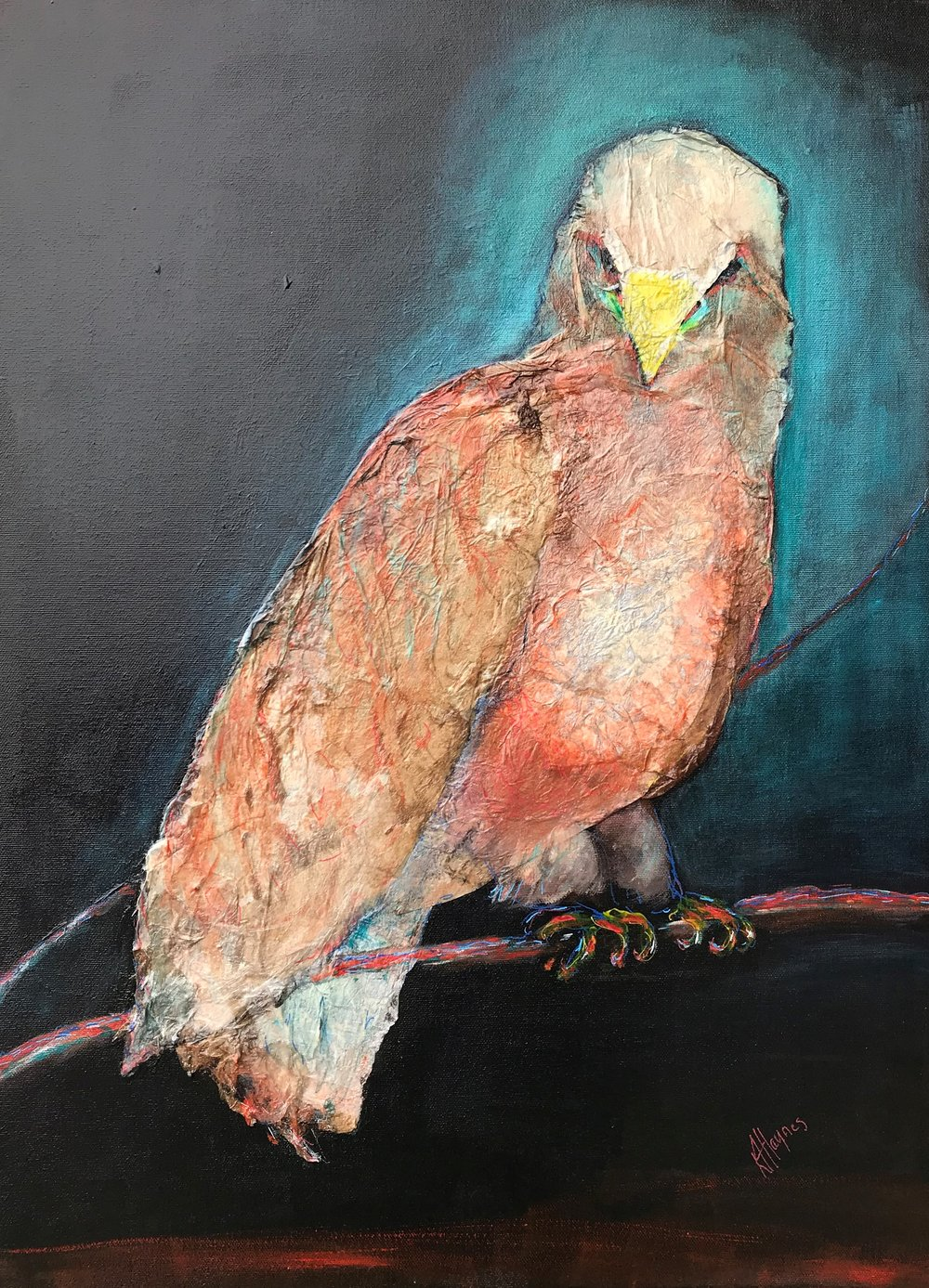 "Avian Authority   24"" x 18"" - mixed media on canvas  currently at Teichert Gallery (teichertgallery.ca), Art Gallery of Nova Scotia"
