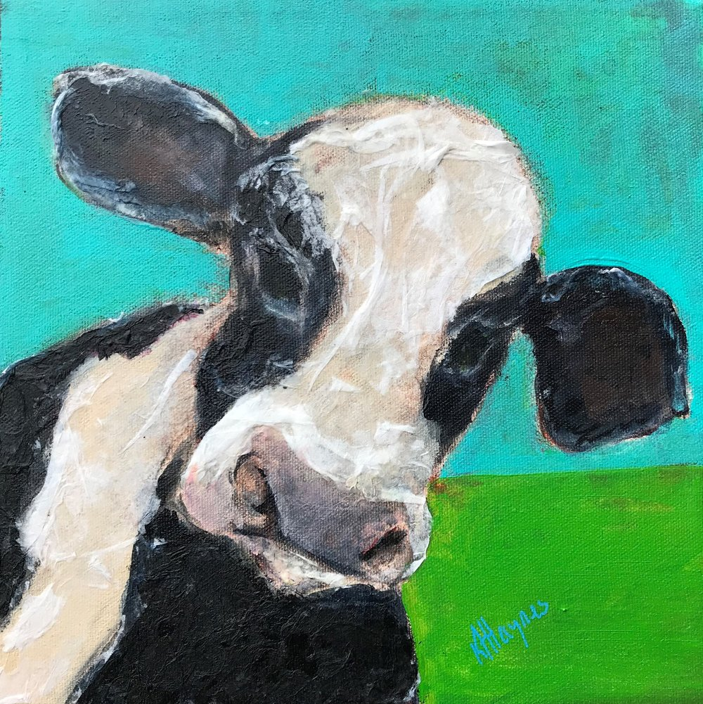 "Cow   10"" x 10"" - mixed media on canvas  currently out on rental from Teichert Gallery (teichertgallery.ca), Art Gallery of Nova Scotia"