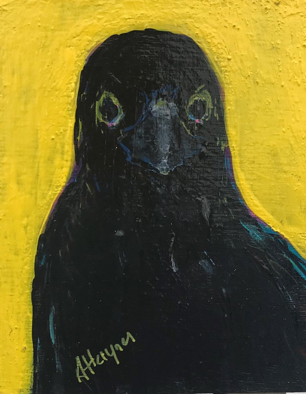"""Curious Crow   5"""" x 4""""   acrylic on canvas"""