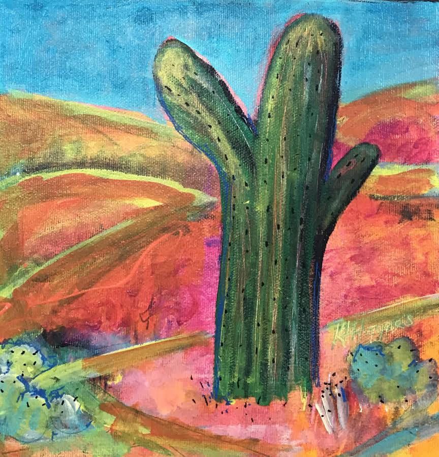 "Desert Memory - Saguaro   8"" x 8"" - acrylic on canvas"