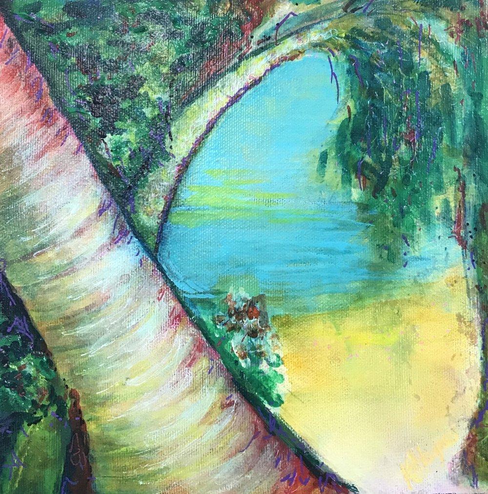 """Caribbean Memory #1   8"""" x 8"""" - acrylic on canvas"""