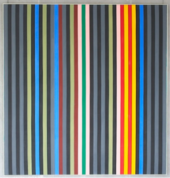 "Black Rhythm   Gene Davis c.1964 (image courtesy of CIA.gov)   This is the Agency's only work by Gene Davis, one of the most noted of the Washington Color School artists. In a conscious effort to ""purify"" his work, he reduced painting to the fewest possible elements, that of equal-width stripes. He felt that this matrix allowed him to emphasize color orchestration, saying: ""I paint by eye as a jazz musician plays by ear.""  The stripes, like a drummer's beat, provide the unity through which colors interact. Such a painting cannot be grasped all at once: Davis suggested that the viewer follow one color across the composition, seeing how the intervals work, what the rhythms are like between related colors. He described it as a kind of syncopation. A Washington native, Davis was a sports writer and a White House correspondent before he dropped that career to become a painter. (text from cia.gov)"