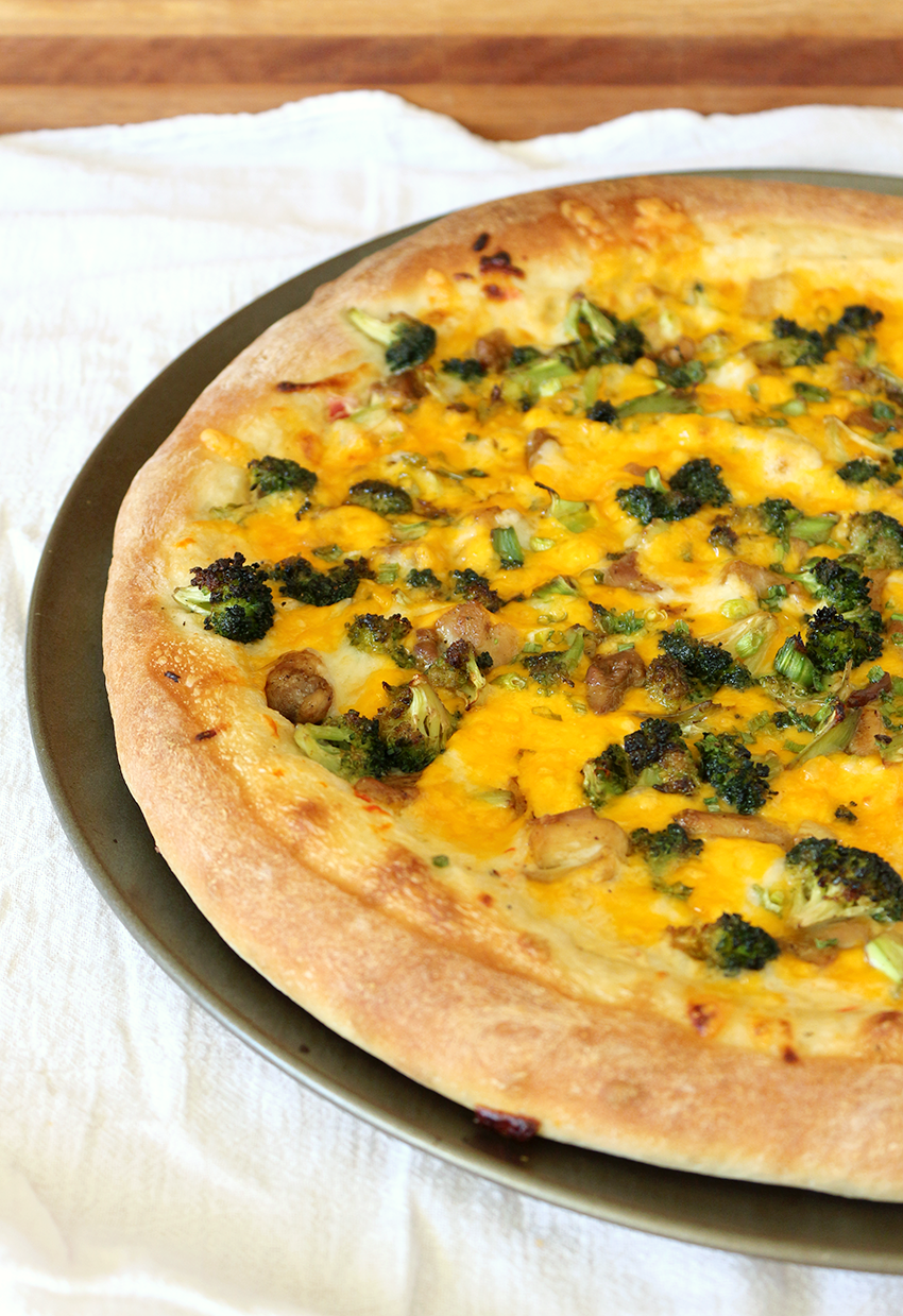 Garlic Chicken and Broccoli Cheddar Pizza