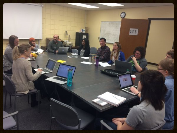 Managing Editors and Editorial Assistants meet to discuss future projects.