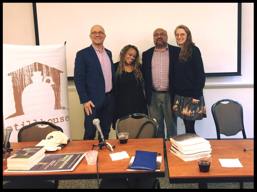 Stillhouse authors Douglas R. Dechow, Carmen Gillespie, and Anna Leahy, with Acquisitions Editor, Marcos L. Martínez at George Mason University's 2017 Fall for the Book festival.