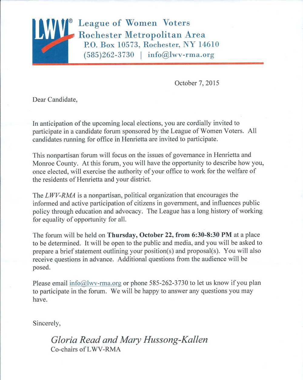 A copy of the invitation all candidates received from the League of Women Voters.