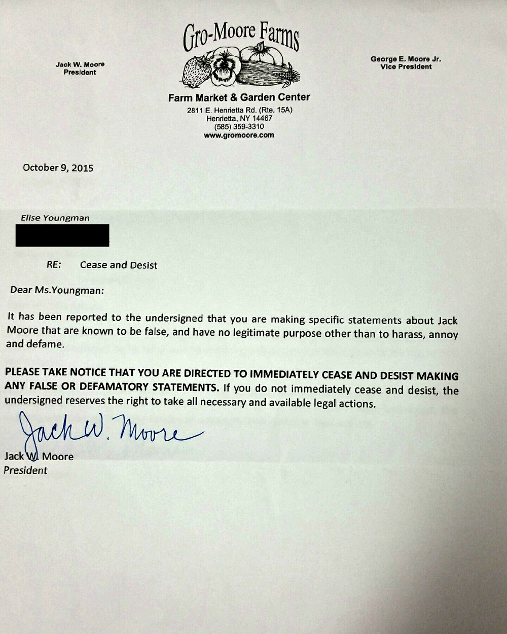 Jack Moore's cease and desist letter