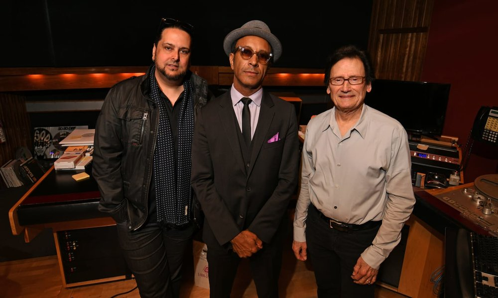 Pictured in session are (L-R) producer/engineer James Saez, Shawn Amos, and Bernie Grundman. Photo by David Goggin.