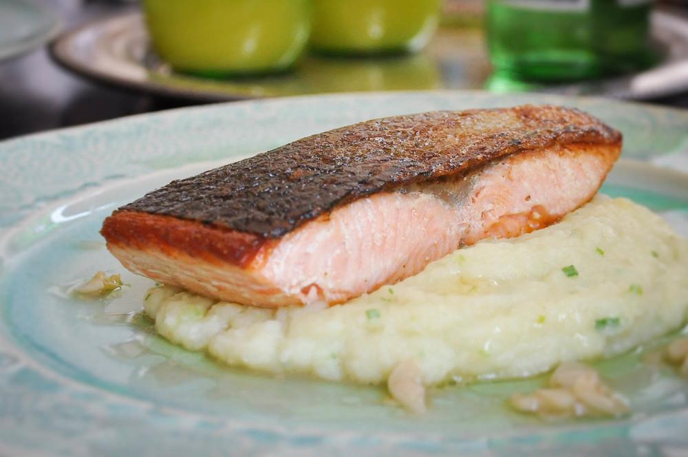 Crispy Skin Salmon with Celeriac Kohlrabi Purée | O&O Eats