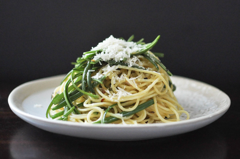 Spicy Garlic Scape Spaghetti | O&O Eats