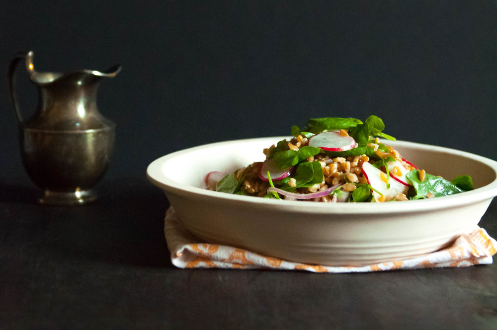 Farro Salad with Honey Miso Dressing | O&O Eats